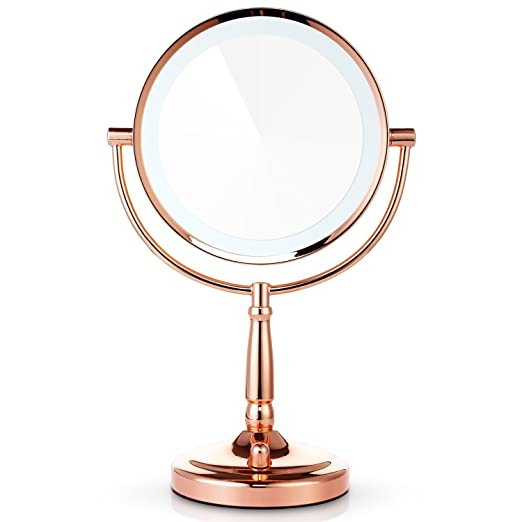 Amazon.com : Miusco 7X Magnifying Lighted Makeup Mirror, 8 Inch Two Sided  White Daylight LED Shadow Free LED Vanity Mirror, Battery And Adapter, ...