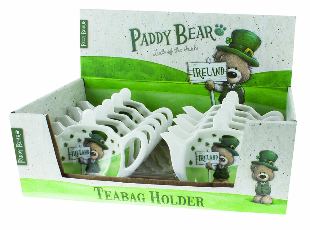 Paddy Bear Irish Designed Tea bag Holder With Shamrock Design And Ireland Text