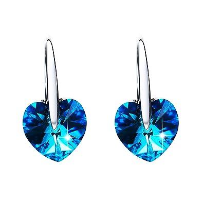 cd91d3313 CRYSLOVE 925 Sterling Silver Love Heart Crystal Fishhook Dangle Earring  Sets Jewelry Gift for Women Girls