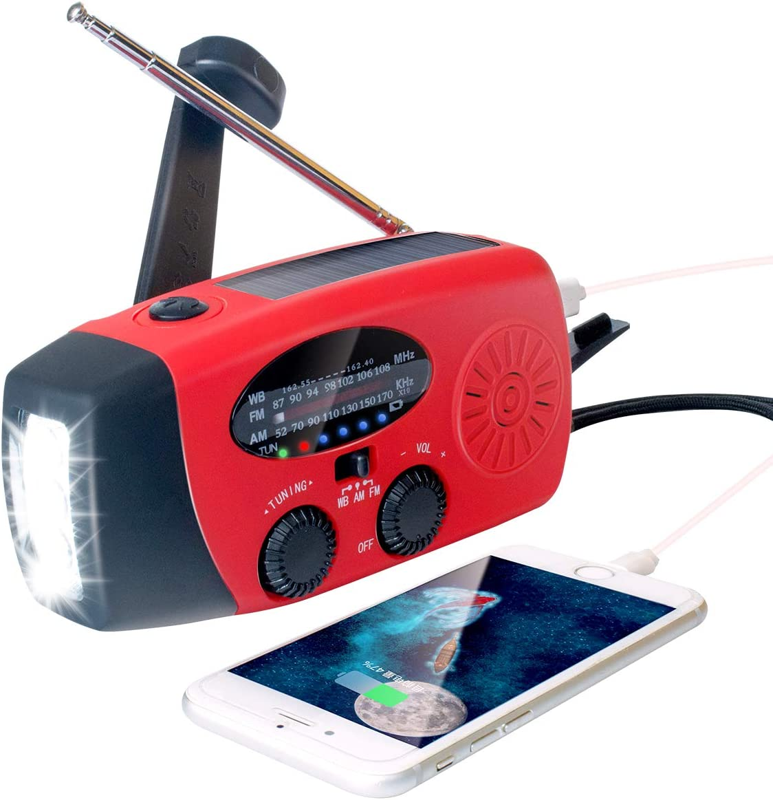 2021 Upgraded Emergency Solar Hand Crank Radio with LED Flashlight, Portable Am Fm NOAA Weather Radio, 2000mAh Solar Power Bank Cell Phone Charger for Home and Outdoor(Red)