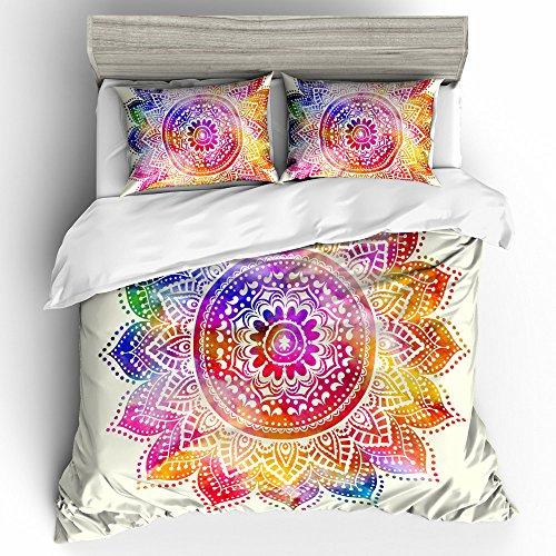 Gypsy Bedding (BOMCOM 3D Digital Printing Indian Passion Mandala Flower BOHO Gypsy Yoga 3-Piece Duvet Cover Sets 100% Microfiber Bright Background(full, Rainbow A))