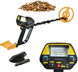 Metal Detector MD-4080 Waterproof Pinpoint Upgraded Mountain Treasure Hunting Tool with Shovel(Yellow