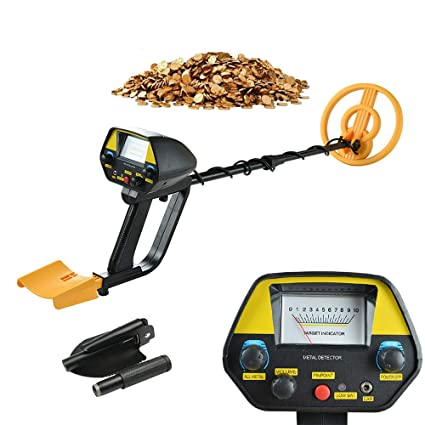 Amazon.com : Metal Detector MD-4080 Waterproof Pinpoint Upgraded Mountain Treasure Hunting Tool with Shovel(Yellow) : Garden & Outdoor