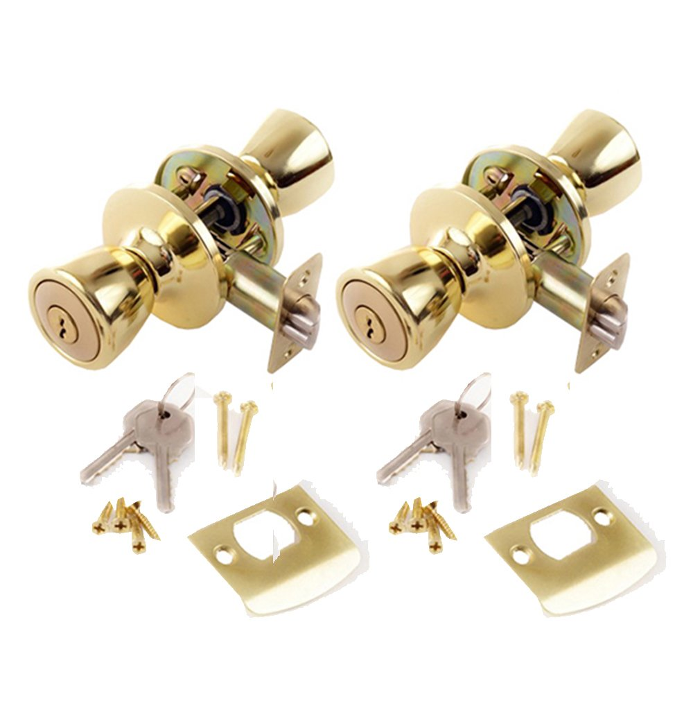 Lion Locks LIO0108 Tulip Keyed Entry Door Knob, Polished Brass, 2-Pack