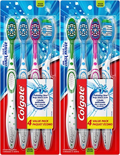 Colgate Max White Full Head Toothbrush, Medium, 4 Count (Pack of 2) Total 8 Toothbrushes ()