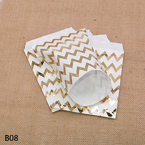 LIMMC 25/50Pcs Gold Silver Dot Stripe Paper Food Gift Candy Bar Bag For Birthday Wedding Party Craft Bag Packaging Baby Shower Favors,B08