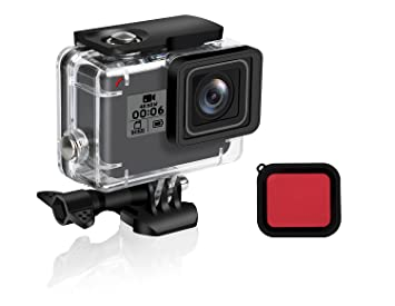 FINEST+ Waterproof Housing Shell for GoPro Hero 7/2018/6/5 Black Diving  Protective Housing Case 45m with Red Filter and Bracket Accessories for Go  Pro