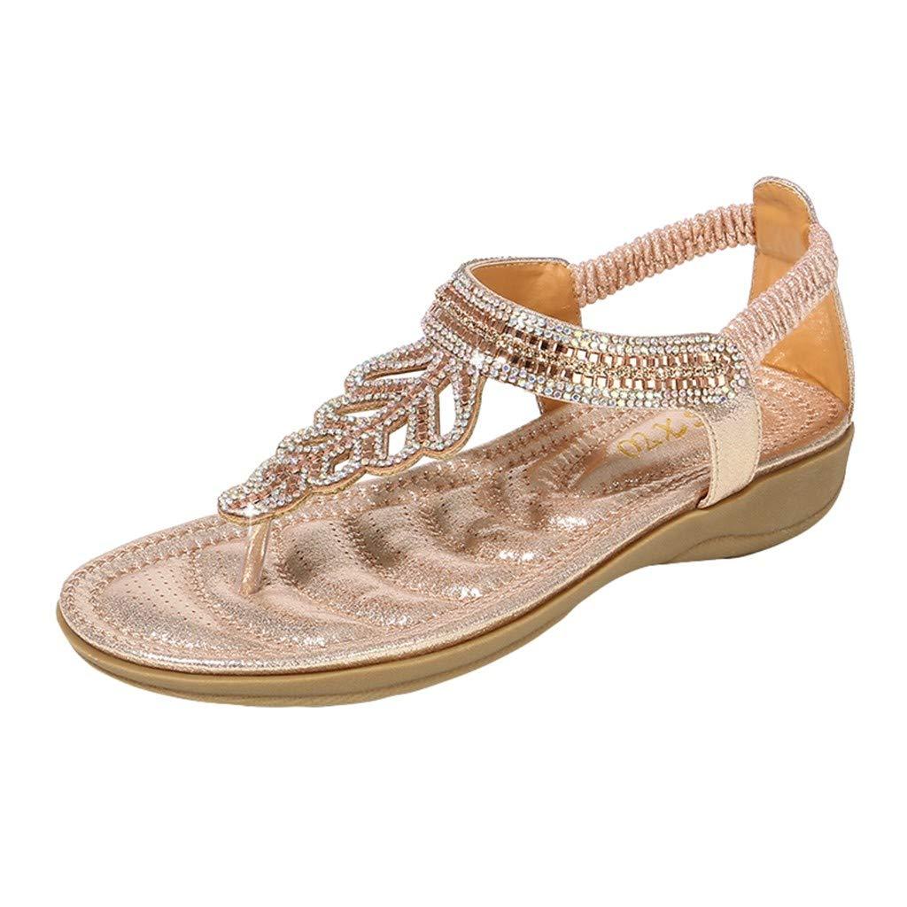 Sandals for Women ❤ Boho Rhinestone Platform Sandles Comfy Flip Flops Slip On Clip Toe Slipper Wide Width Summer Sameno