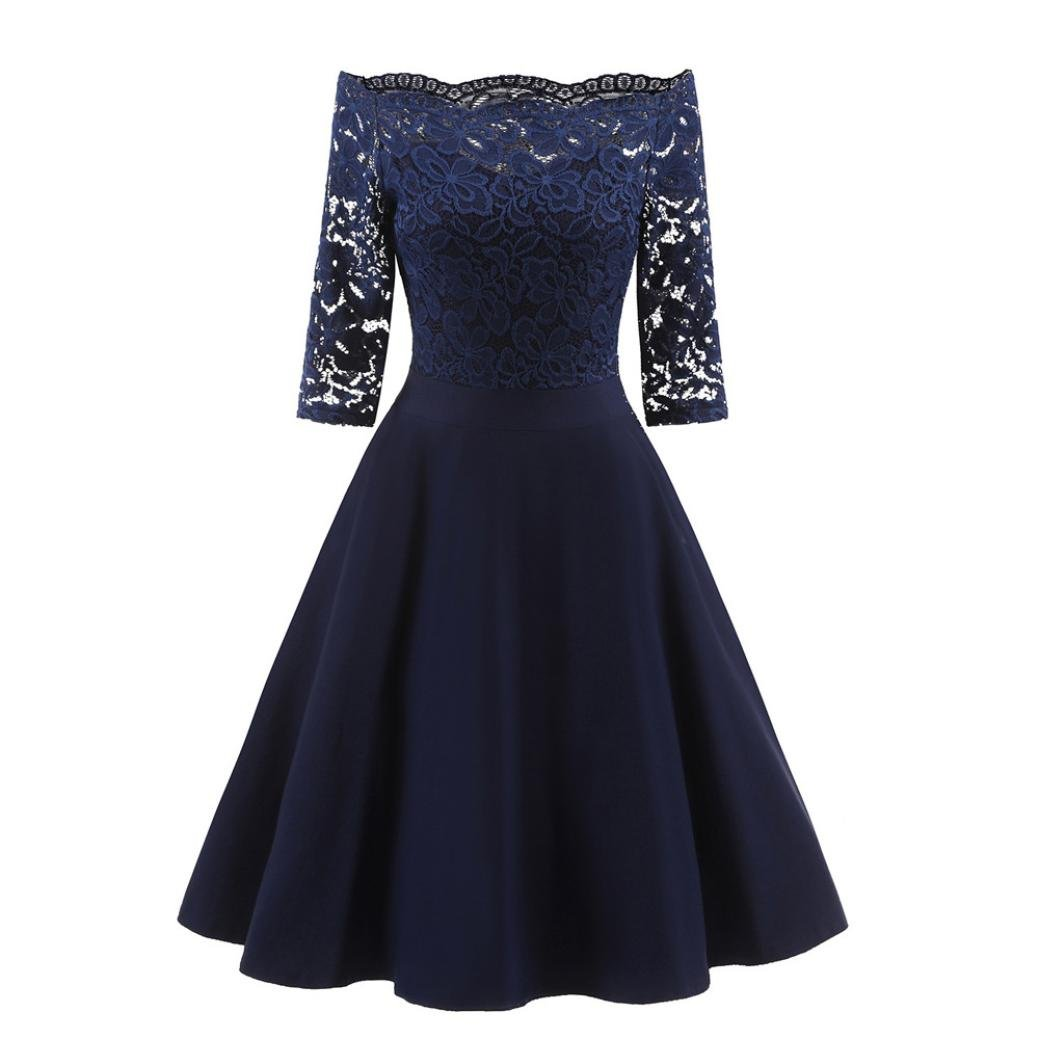 Women Long Dress Daoroka Women's Sexy Off Shoulder New Fashion Vintage Lace Printing Short Sleeve Formal Patchwork Wedding Dress Cocktail Retro Swing Evening Party Skirt Slim Ladies Dress (XL, Navy)