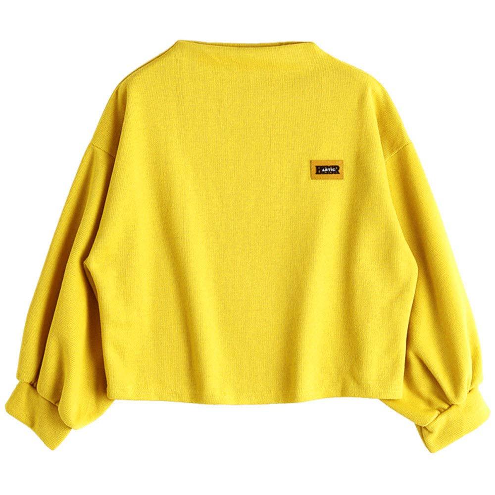 Womens Long Lantern Sleeve Crewneck Loose Pullover Sweater Casual Bat Sleeve Drop Sweatshirt Crop Tops