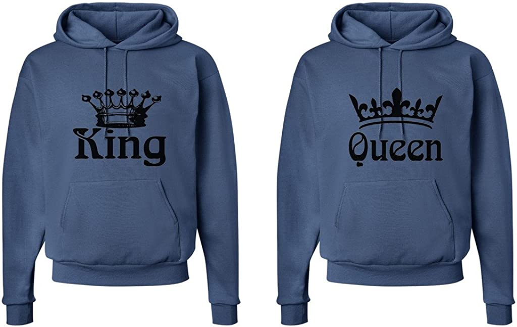 Fasciino Matching His /& Hers Couple Hooded Sweatshirt Set King and Queen Crowns King Shirt: Large//Queen Shirt: XLarge Denim