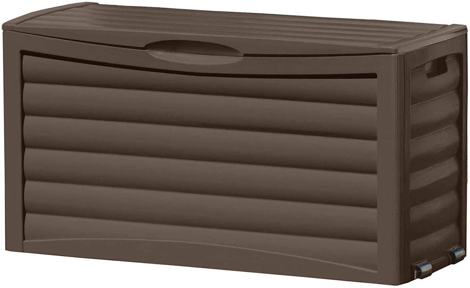 Suncast 63-Gallon Box-Waterproof Outdoor Storage Container for Patio Furniture, Gardening Equipment, and Yard Tools, Store Items on Deck, Porch, Backyard, Brown