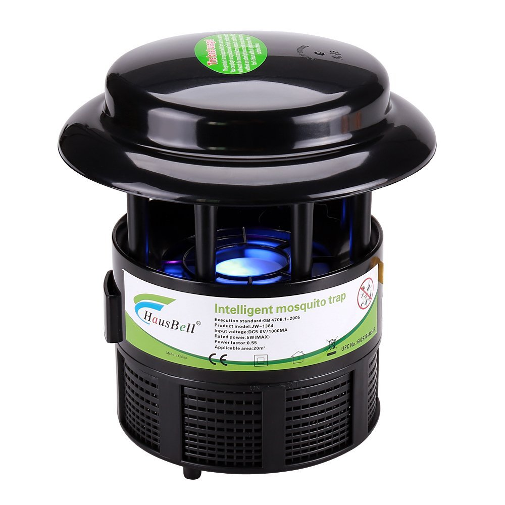 Hausbell Mosquito Trap, Nontoxic Flying Insect Trap Mosquito Killer Non-Chemical Mosquito Inhaler Auto On and Off With Light Sensor, UL Listed (Black)