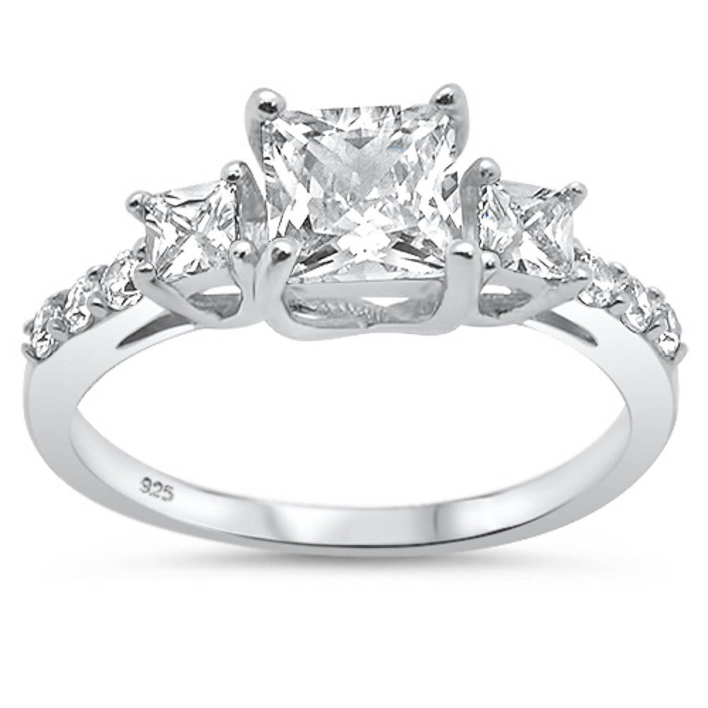 Oxford Diamond Co Sterling Silver Princess Cut & Round Cubic Zirconia Three Stone Engagement Ring Sizes 8