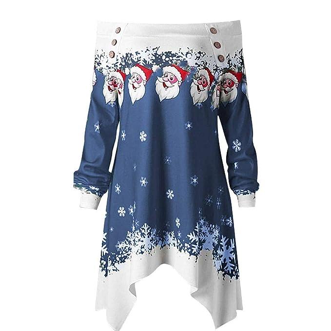 Luckycat Christmas Women Zipper Dots Tops con Capucha Sudadera con Capucha Pullover Blouse Camiseta (Armada