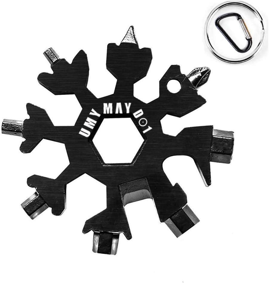 Mejorada 18-En-1 Herramienta Multifunción, Multiherramienta Copo De Acero Inoxidable, Destornilladores llavero Abrebotellas Llave EDC Tool (Negro)