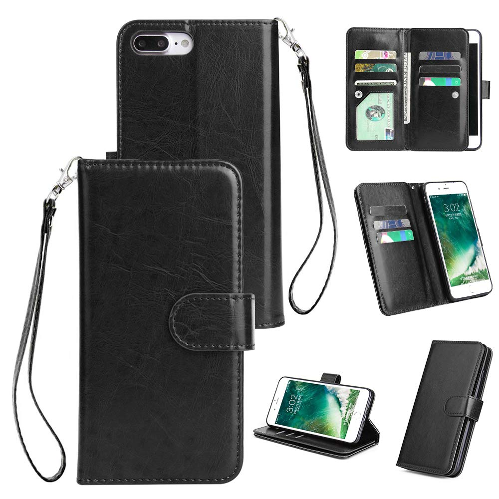 Shinyzone iPhone 7 Plus/iPhone 8 Plus Wallet Case with 9 Card Slots,Luxury Premium Synthetic Leather Book Style Stand Cover with Wrist Strap and Magnetic Closure Pretective Cover-Black
