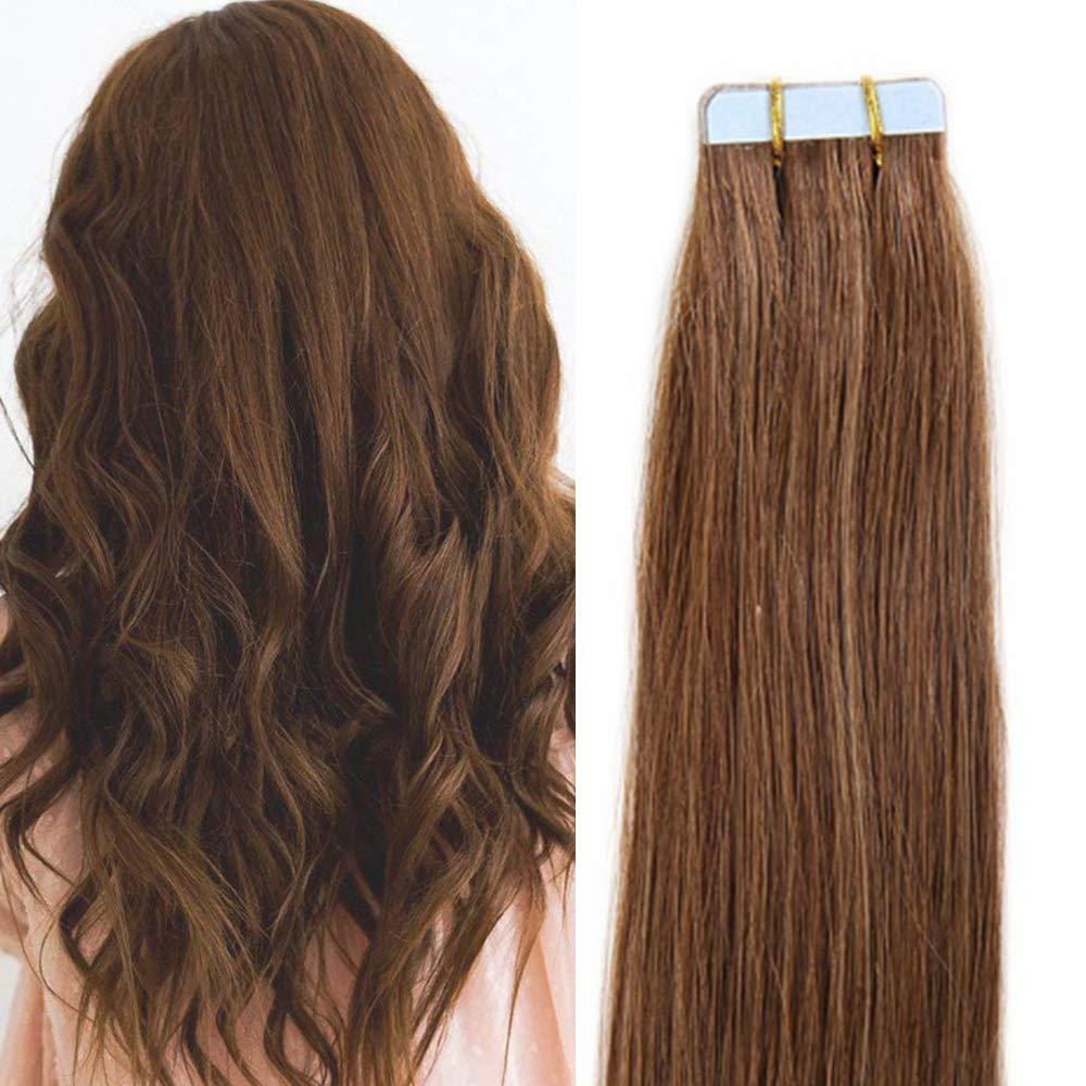 45cm Extension Capelli Veri Adesive Extensions con Biadesivo Riutilizzabili - 20 Fasce 50g 60# Biondo Platino - 100% Remy Human Hair Umani UK-Fashion-Shop