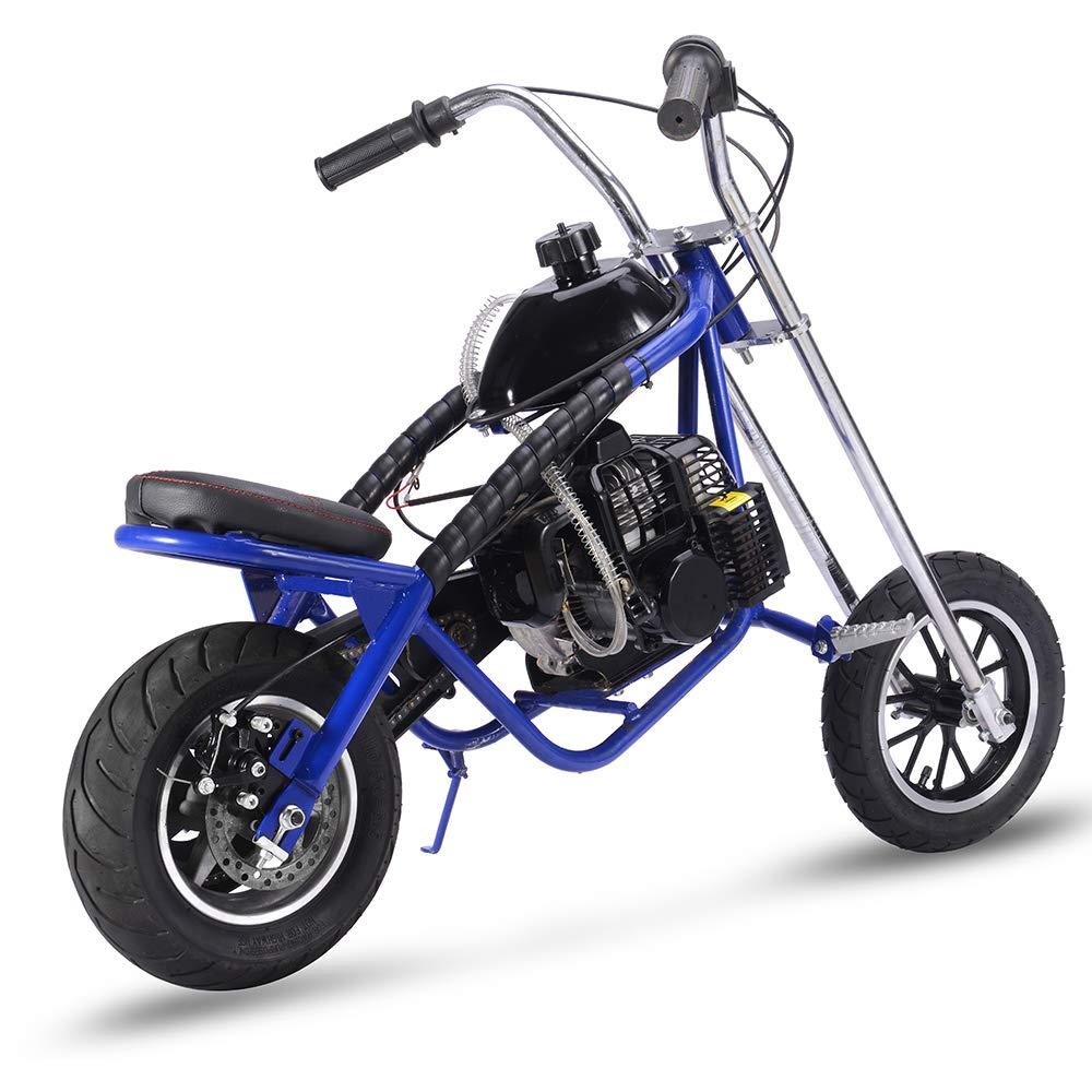 Gas Bike Mini Dirt Bike Gas Scooter Chopper for Kids 49cc 2 Stroke Powered Motorcycle EPA Approved Blue