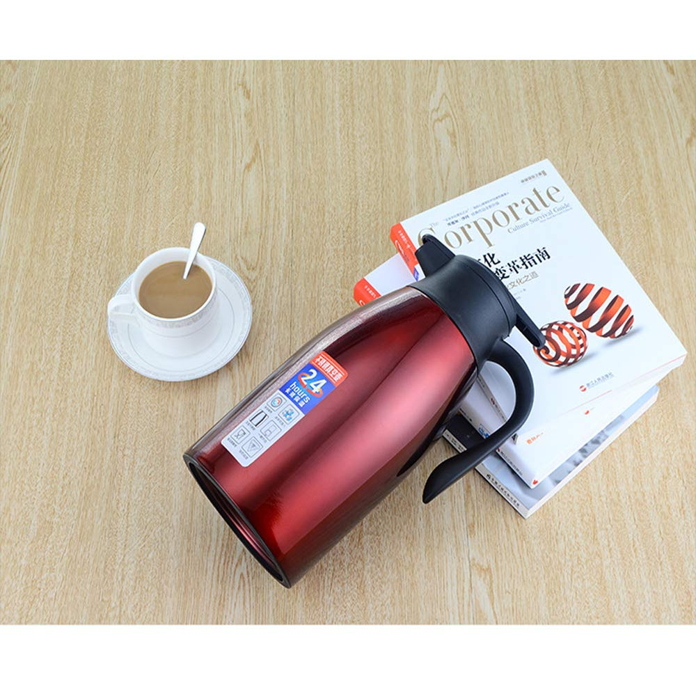 Rose Gold Thermo Jug,Vishm Stainless Steel Coffee Tea Pot Double Wall Vacuum Insulated Hot Water Bottle Pitcher Beverage Dispenser with Press Button 2L