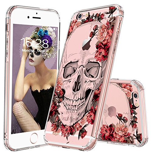 MOSNOVO iPhone 6 Case/Cool iPhone 6S Case, Floral Skull Flower Clear Design Printed Transparent Slim Plastic Hard Back Cover with TPU Bumper Protective Case for Apple iPhone 6/iPhone 6S (4.7 Inch)