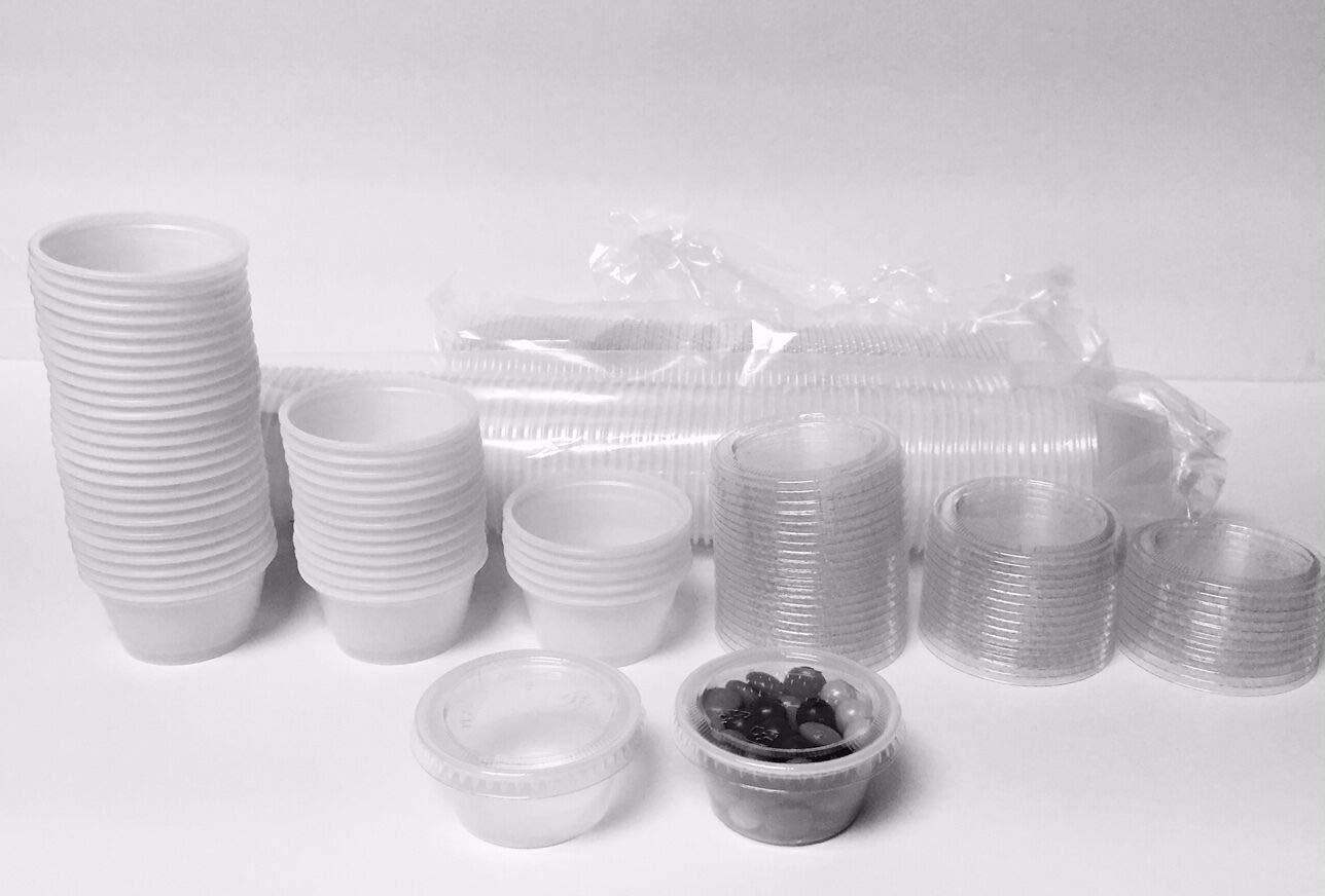 FidgetKute 50/100/125/500 Variations Cups+Lids 2 oz. Plastic Cup Jello Shot Portion 500 Cups with 500 lids One Size by FidgetKute