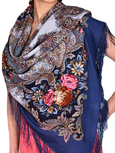 Pavlovo Posad Russian Shawl Pashmina Wool 49x49'' in 4 vibrant colors (Blue)