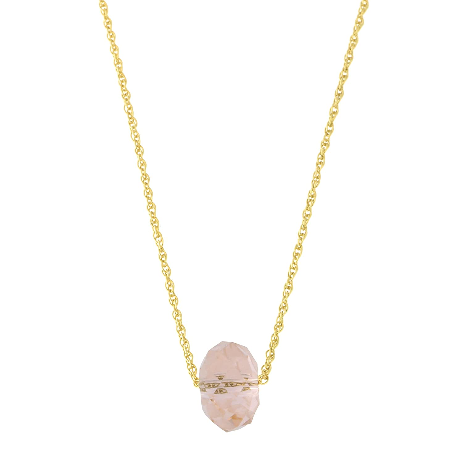 White or Rose Gold Rope Chain Light Pink Crystal Pendant Necklace 14k Yellow