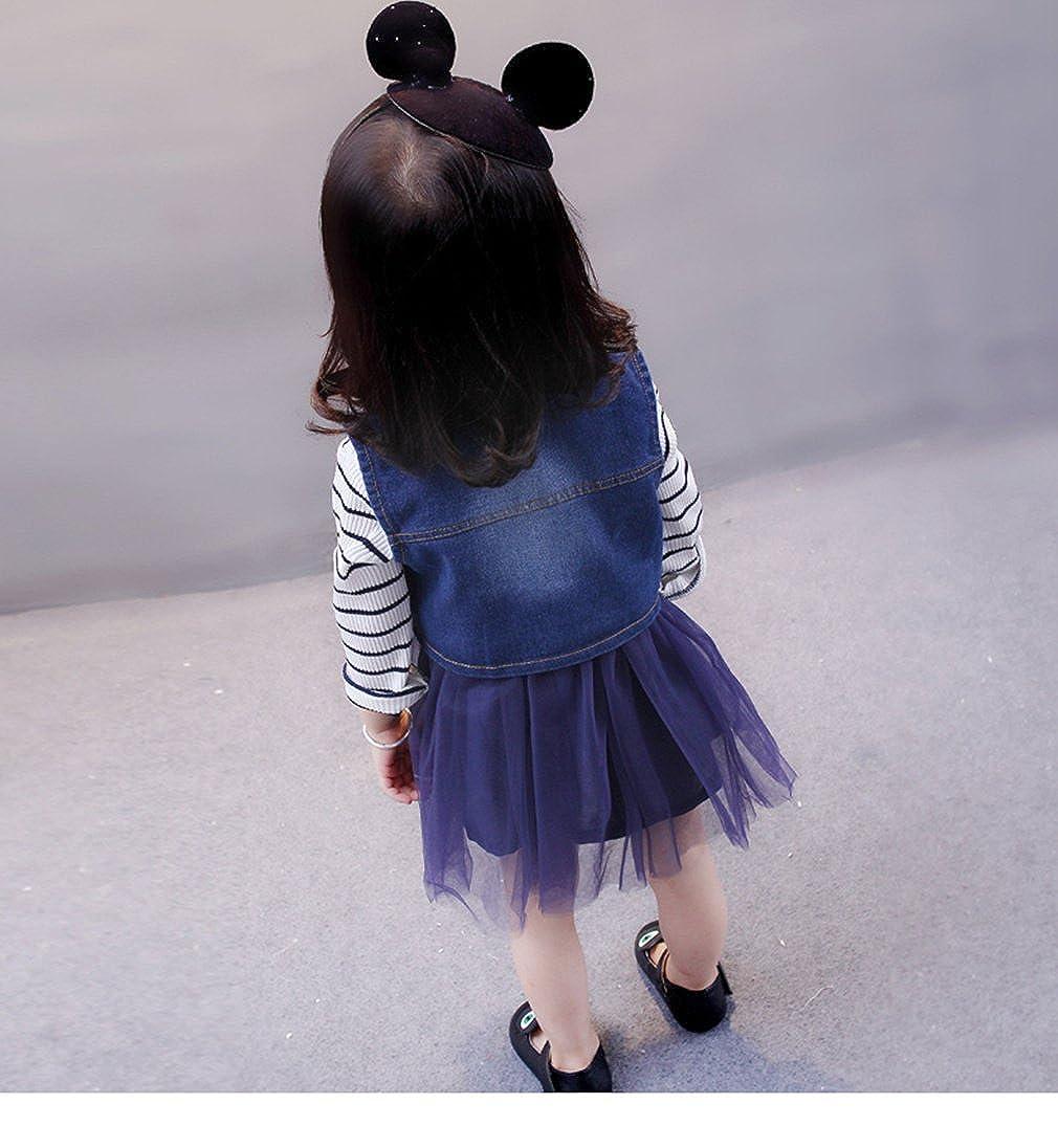 Nine Minow Girls Dress Rose Denim Vest Veil Gauze Dress Two Pcs Sets Of Baby Girls Dresses Sets
