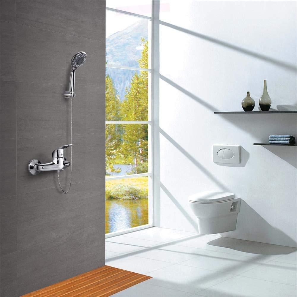 Grifo mezclador de pared para ducha y alcachofa de ducha con 3 modos y tubo flexible de 1,5 m y soporte Dalmo DBWF02FA mezclador monomando de pared de lat/ón macizo y cromado