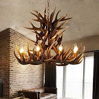6+3 Head 9+3 Head 9+6 Head 9+9 Head Candle Antler Chandelier American Retro Resin Deer Horn Lamps Home Decoration Lighting E14 (9+6Heads)