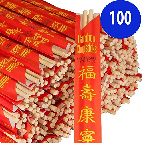 Premium Disposable Bamboo Chopsticks Sleeved and Separated (Bag of 100 Pair)