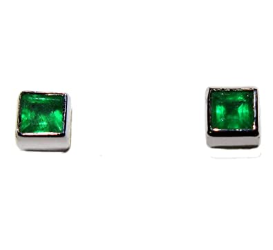 c2bec01f75e74 14k Gold Geniune Emerald Tiny Bezel Stud Earrings