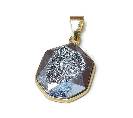 Amazon silver titanium druzy pendant druzy agate quartz silver titanium druzy pendant druzy agate quartz window druzy geode gold plated aloadofball Images