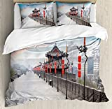 Ambesonne Ancient China Decorations Duvet Cover Set Queen Size, Old Tower on City Wall Xian City at Dusk Asian Landscape Image, Decorative 3 Piece Bedding Set with 2 Pillow Shams, Multicolor