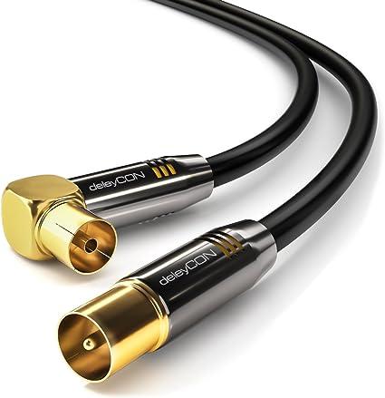 deleyCON 3m Cable de Antena TV HDTV Full HD - 1x en Ángulo Cable Coaxial Enchufe de TV (Recto) para Toma de TV (90° Grados) Tapón de Metal - Negro