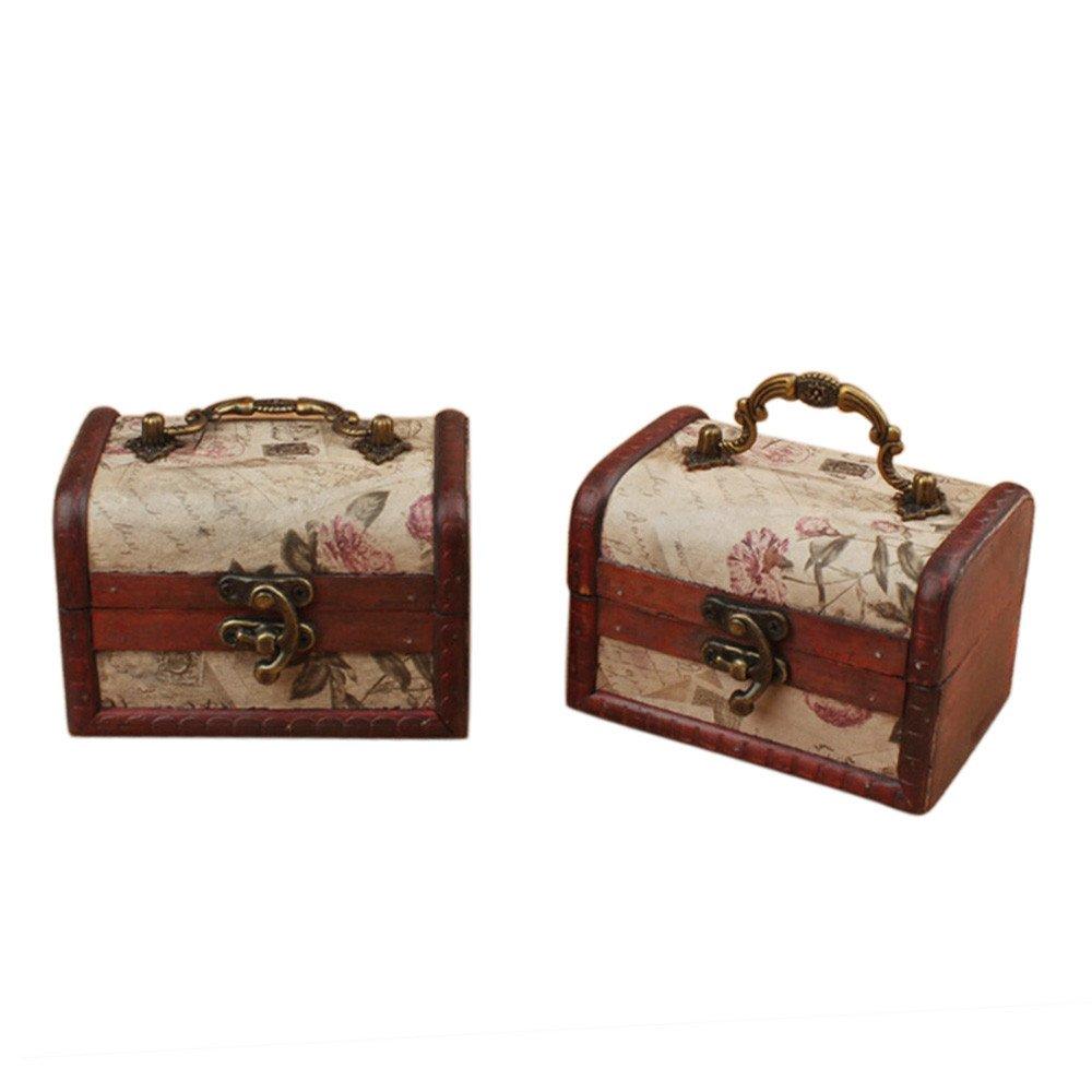 Coolrunner Handmade Retro European wooden box Vintage Wooden Treasure Case Decorative Trinket Jewelry Storage Box Old Memory (2) by Coolrunner
