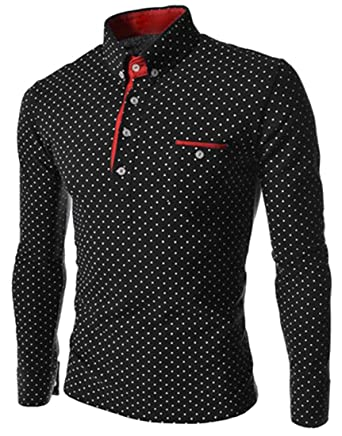 72364166f5 Jotebriyo Men Casual Slim Long Sleeve Polka Dot Print Golf Polo Shirt Top  at Amazon Men s Clothing store