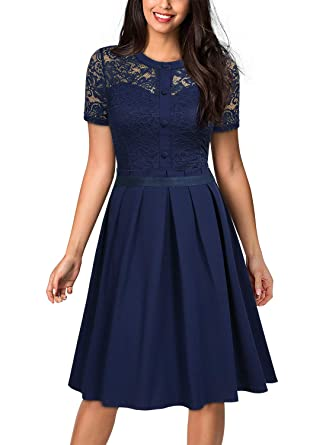 0f87ac131e3 MISSMAY Women s Vintage Floral Lace Short Sleeve Cocktail Party Swing Dress  at Amazon Women s Clothing store
