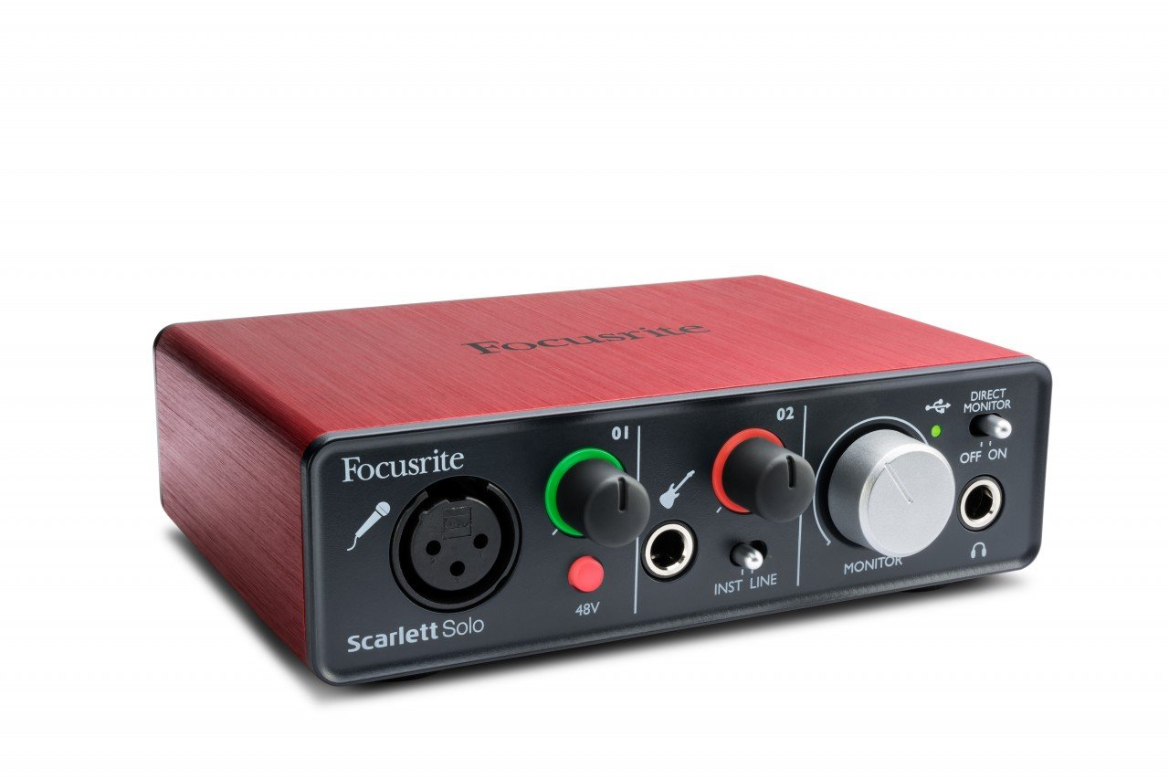 Focusrite Scarlett Solo USB Audio Interface with Red Plug-ins and 1 Year Extended Warranty