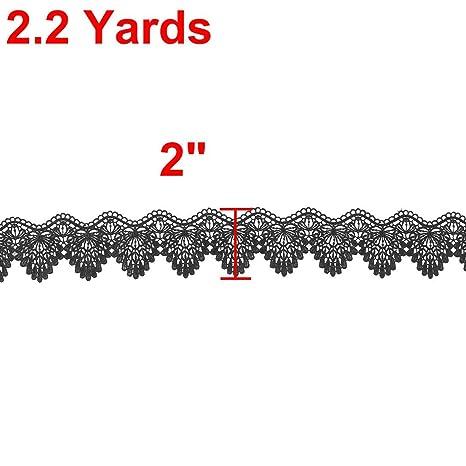 Amazon.com: eDealMax poliéster Familia de bricolaje de costura del ARO de la Venda del Pelo del ajuste del cordón de la decoración 2.2 yardas Negro