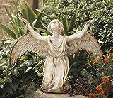 """13"""" Kneeling Angel Garden Sculpture with Aged Antique Look"""