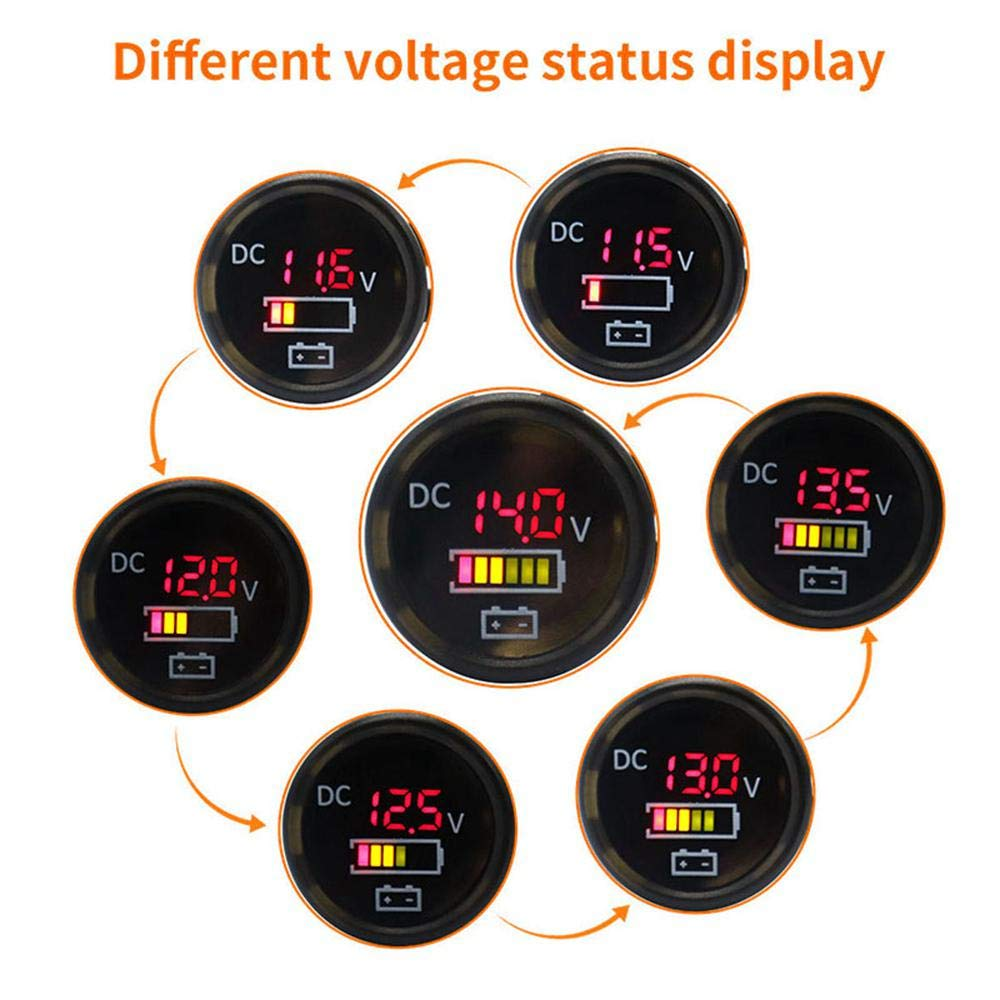 Volwco 12V//24V LED Digital Voltmeter Display Panel,IP67 Waterproof Color Screen Voltage Gauges Automatic Switch for Car RV Boat Marine Motorcycle