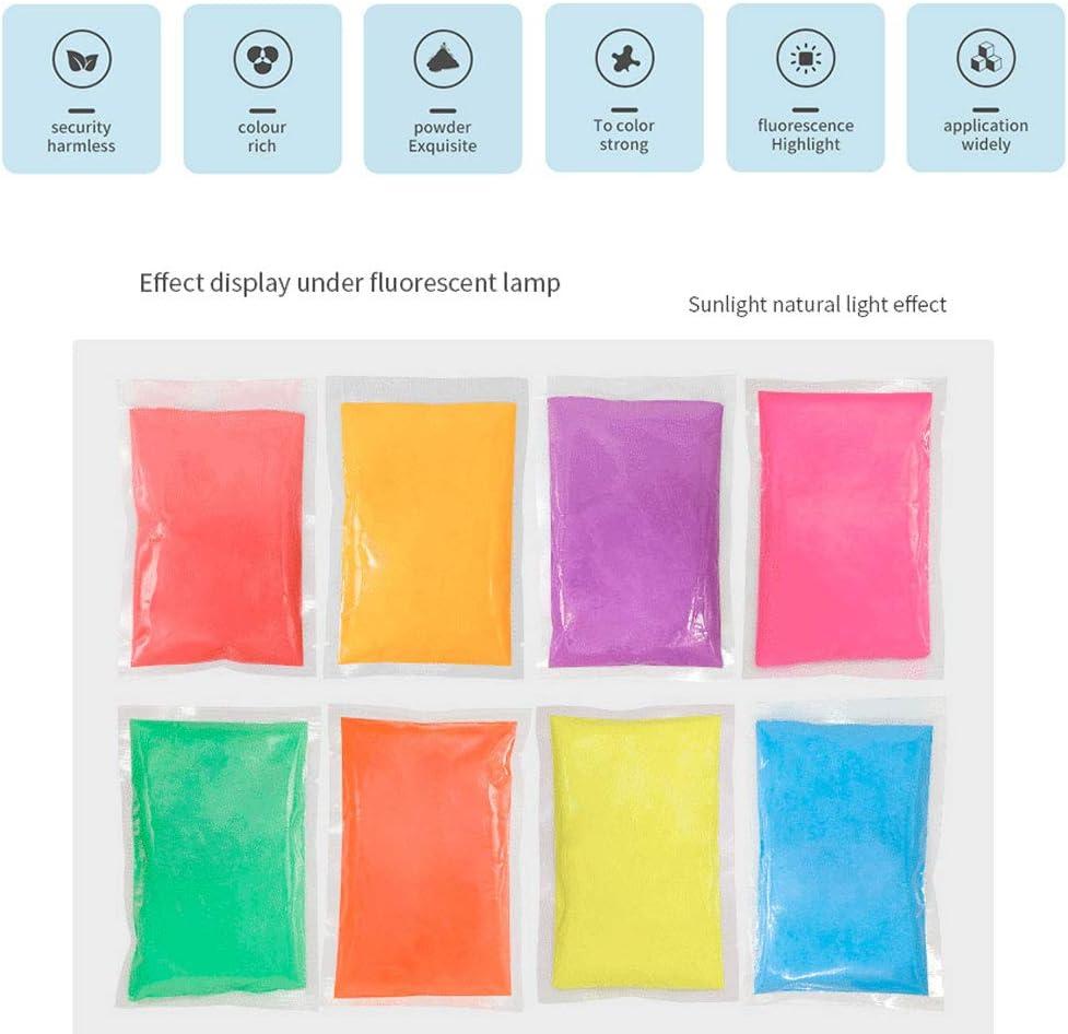 morado Pigmento de polvo de mica colorante para resina de color luminoso 100 g brilla en la oscuridad fluorescente pigmentos de pintura para manualidades Polvo de mica resina epoxi