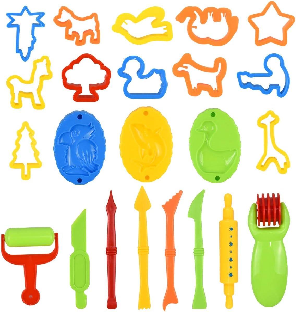Fodlon Herramienta de Plastilina, 26 Piezas Herramienta de Masa Juego de Cocina para Niños Accesorios de Plástico para Masa, Incluyendo Molde para Animales, Extrusora, Rodillo, Regalo de los Niños