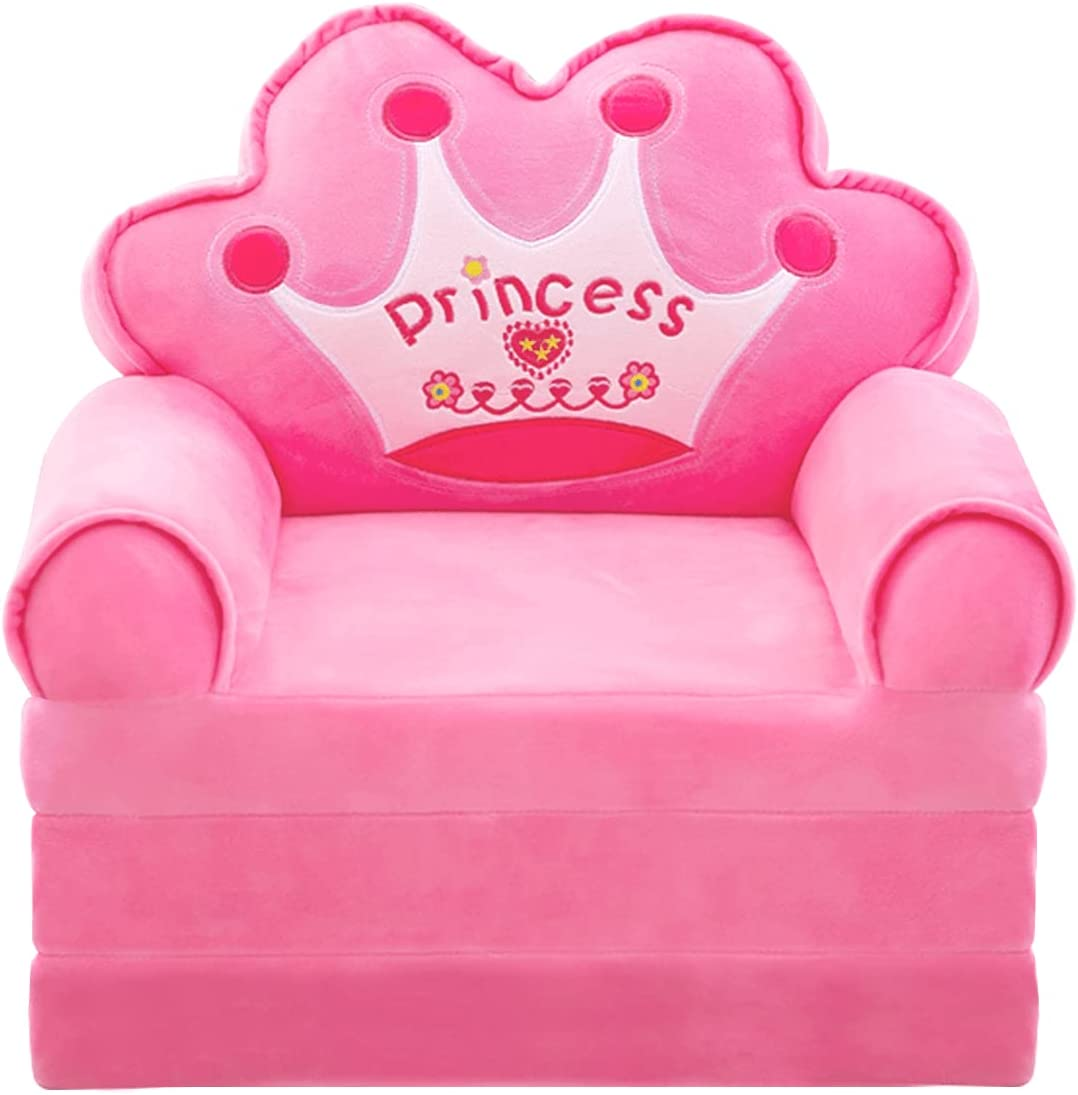 Plush Foldable Kids Sofa Backrest Chair Cute Cartoon Lazy Sofa Infant Toddler Kids's Flip Open Sofa Bed for Living Room Bedroom (Crown Pink)