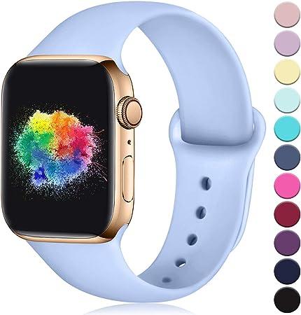 Imagen deYoumaofa Correa Compatible con Apple Watch 38mm 40mm, Correa de Silicona Repuesto Pulsera Deportivas para iWatch Series 5 Series 4 Series 3 Series 2 Series 1, 38mm/40mm M/L Lila
