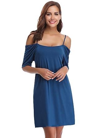 585db388665af Robe Femme Bretelle Manche Courte Chemises de Nuit Robe de Nuit Coton  Tunique Casual Loose Tops