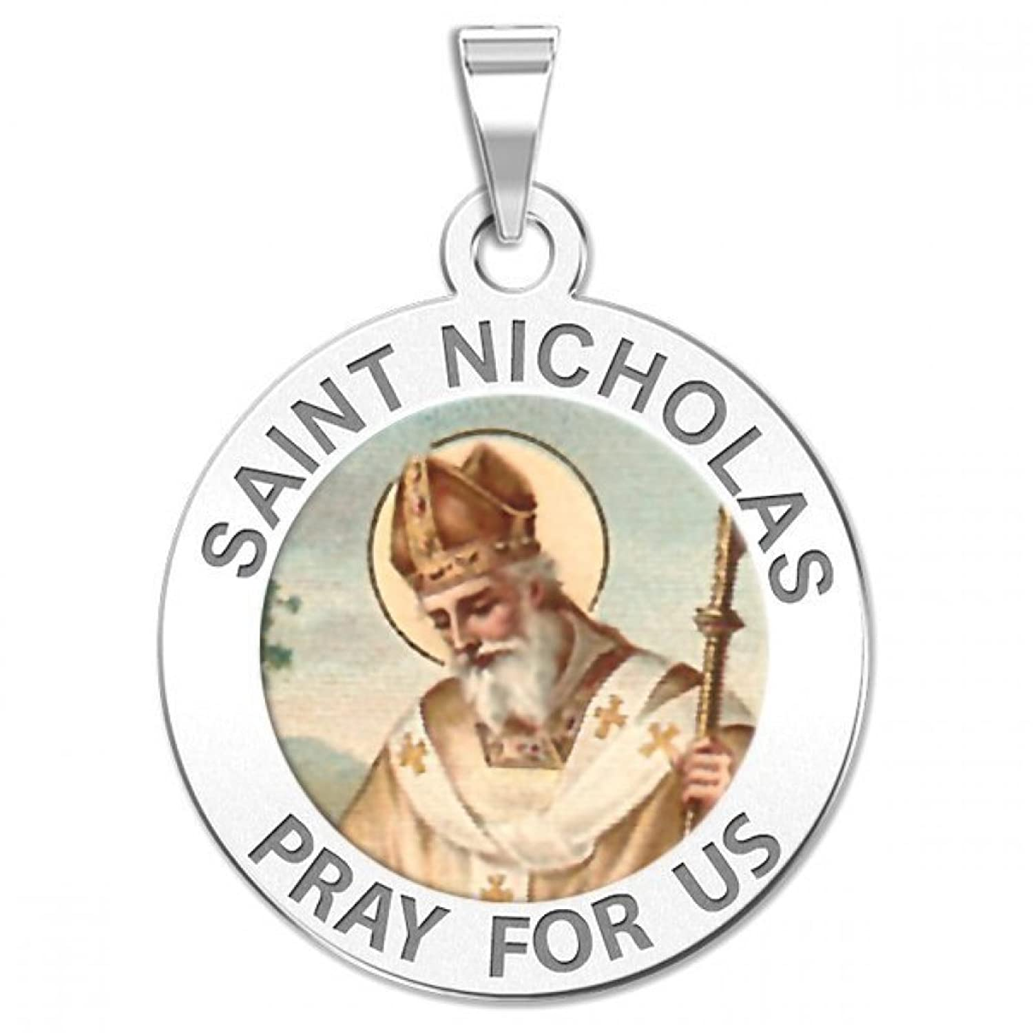 Saint Nicholas Religious Medal Color - Available in Solid 14K Yellow or White Gold, or Sterling Silver