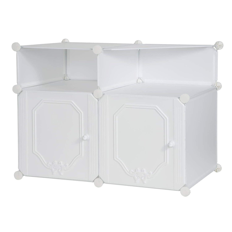 EUGAD 0161XJYJ Table de Chevet modulaire Table de Nuit Blanche Petite Armoire de Rangement Commode Pratique pour Chambre 74x46x54cm